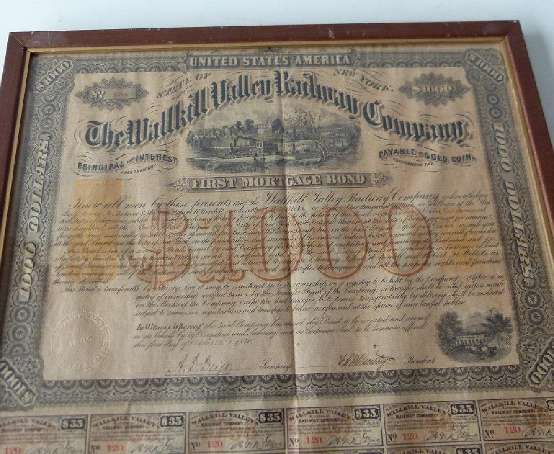 STOCK CERTIFICATE THE WALLKILL VALLEY, NY RAILWAY - 2