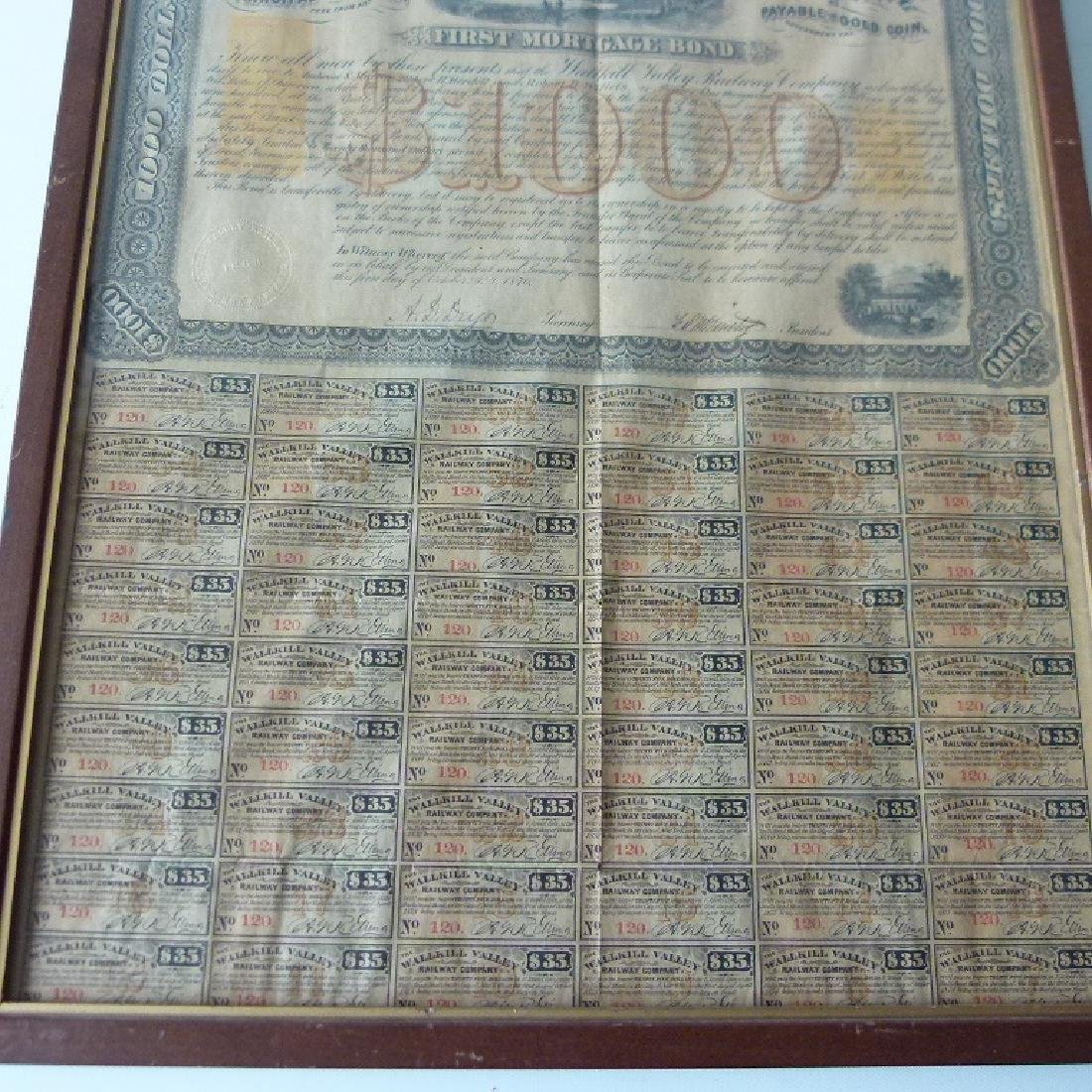 STOCK CERTIFICATE THE WALLKILL VALLEY, NY RAILWAY - 3