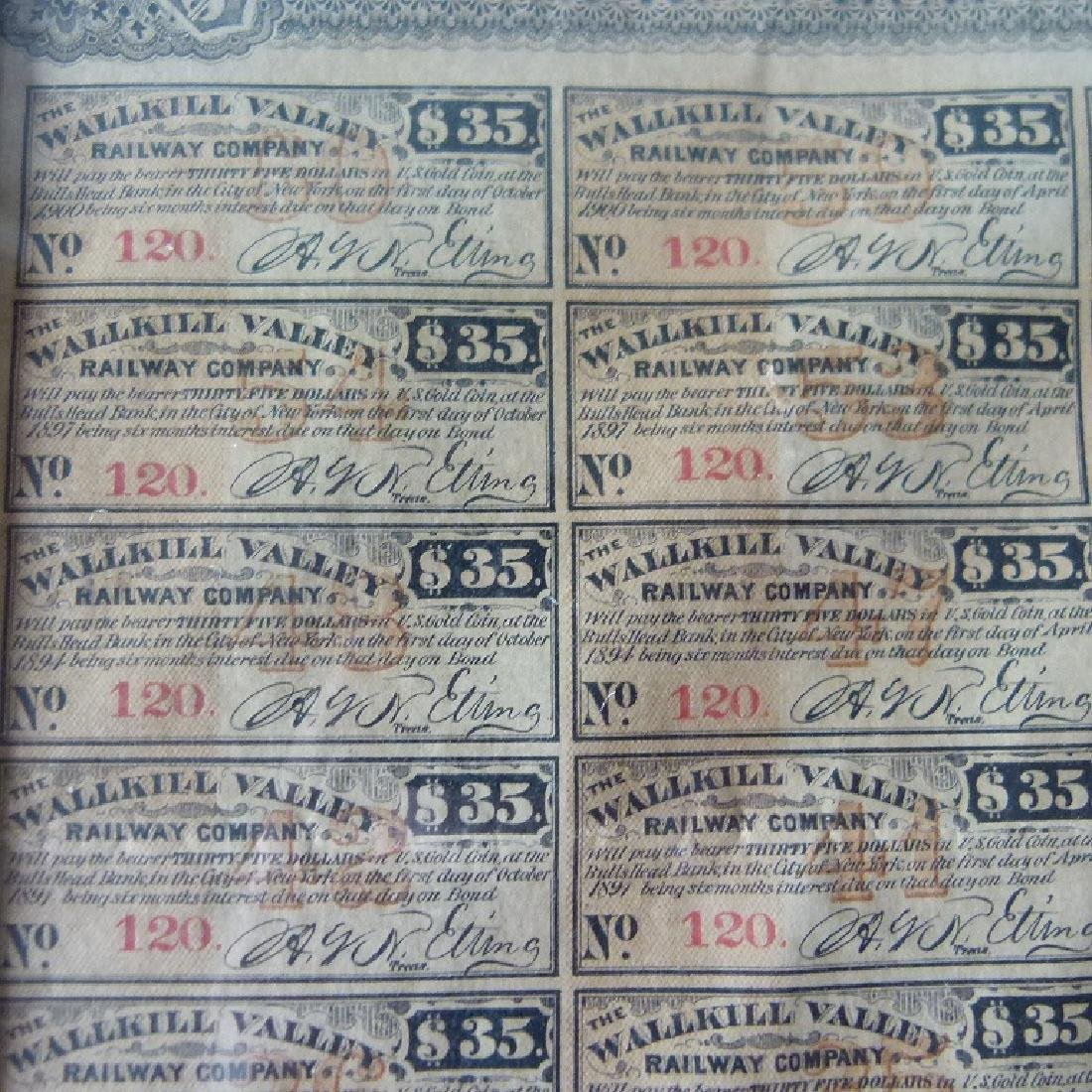 STOCK CERTIFICATE THE WALLKILL VALLEY, NY RAILWAY - 4