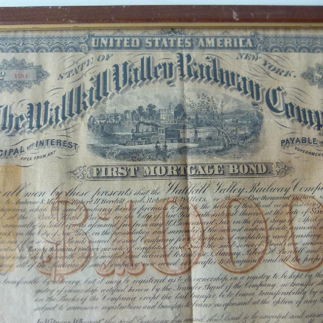 STOCK CERTIFICATE THE WALLKILL VALLEY, NY RAILWAY - 5