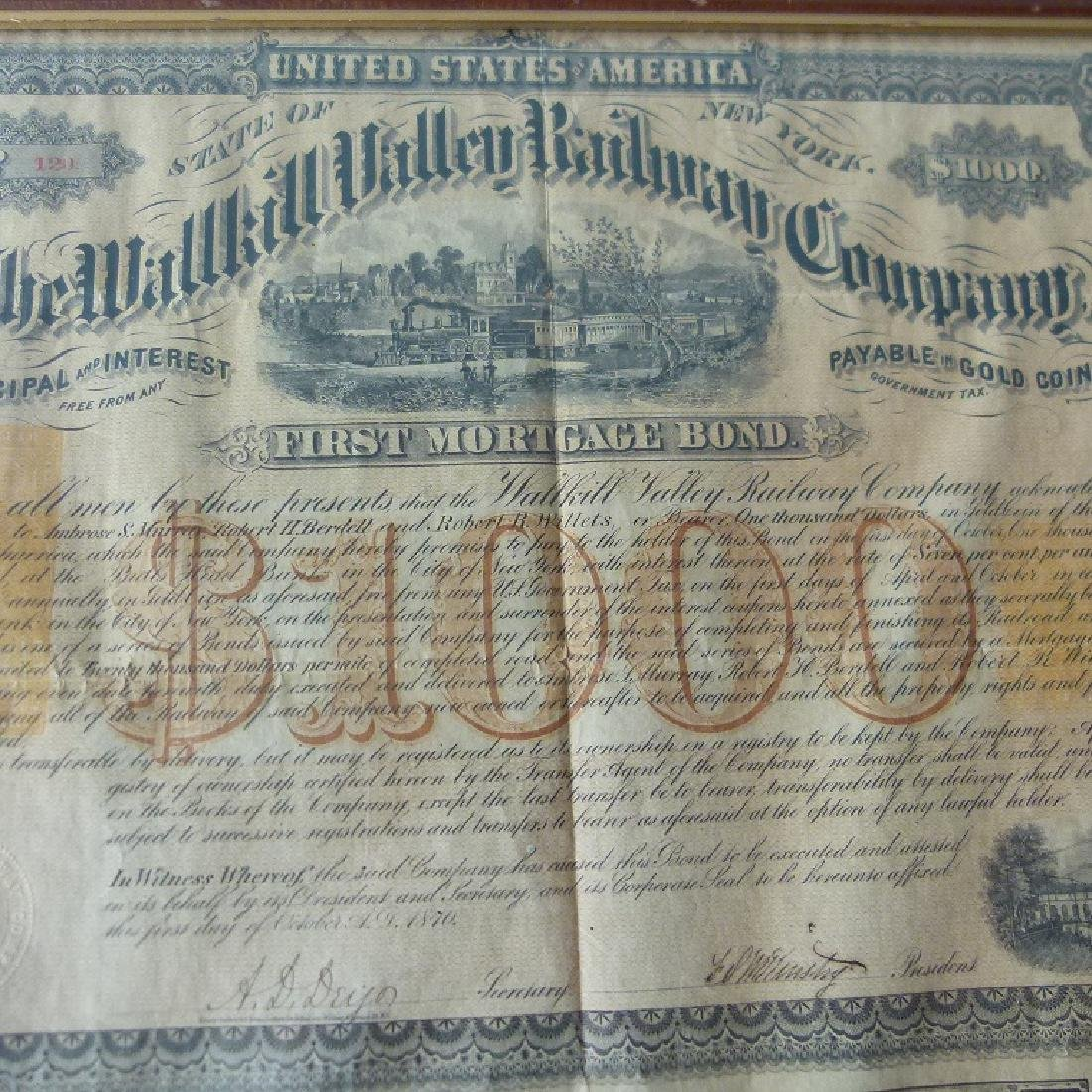 STOCK CERTIFICATE THE WALLKILL VALLEY, NY RAILWAY - 6