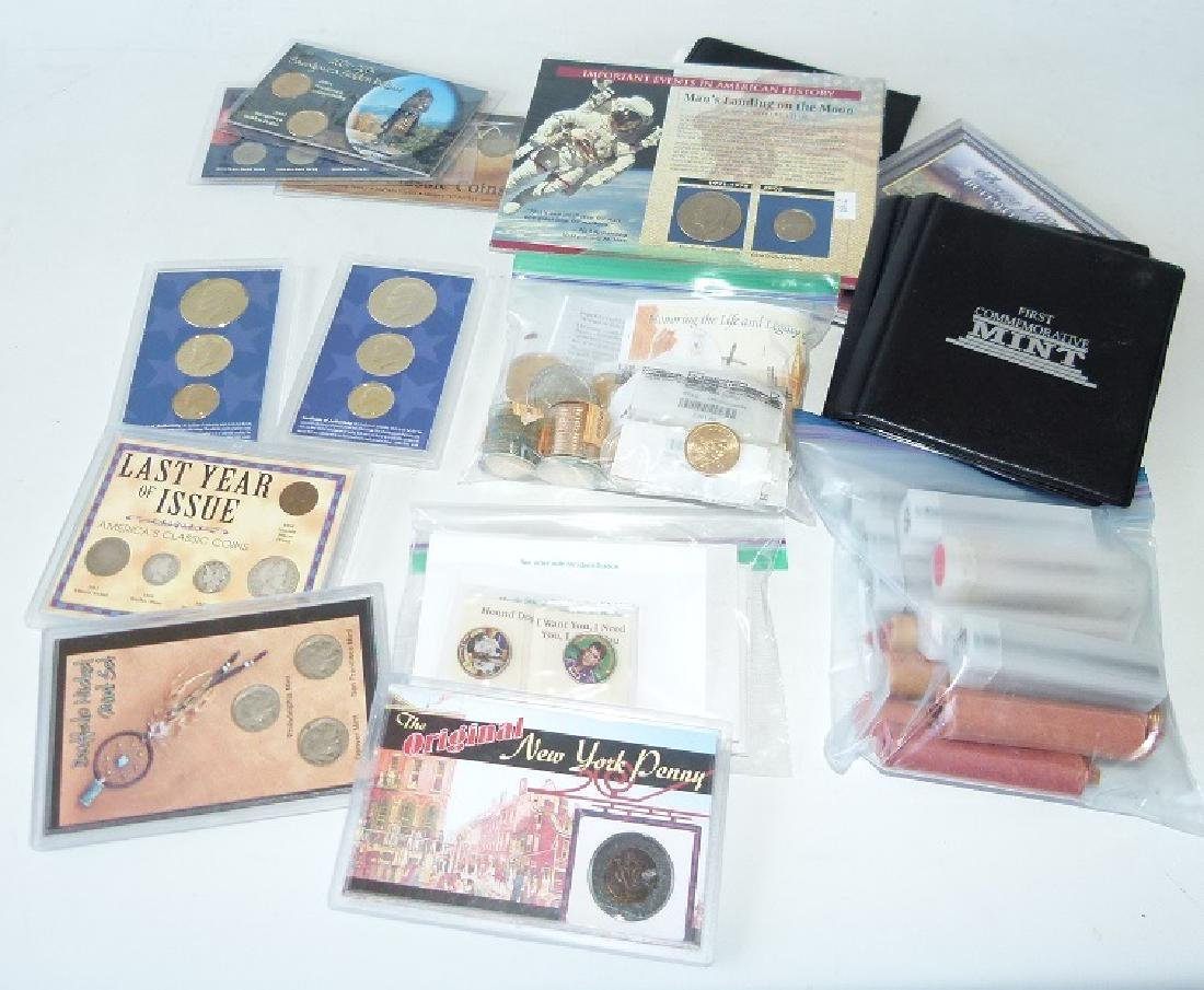 LOT ASSORTED COMMEMORATIVE COINS/ROLLED WHEAT