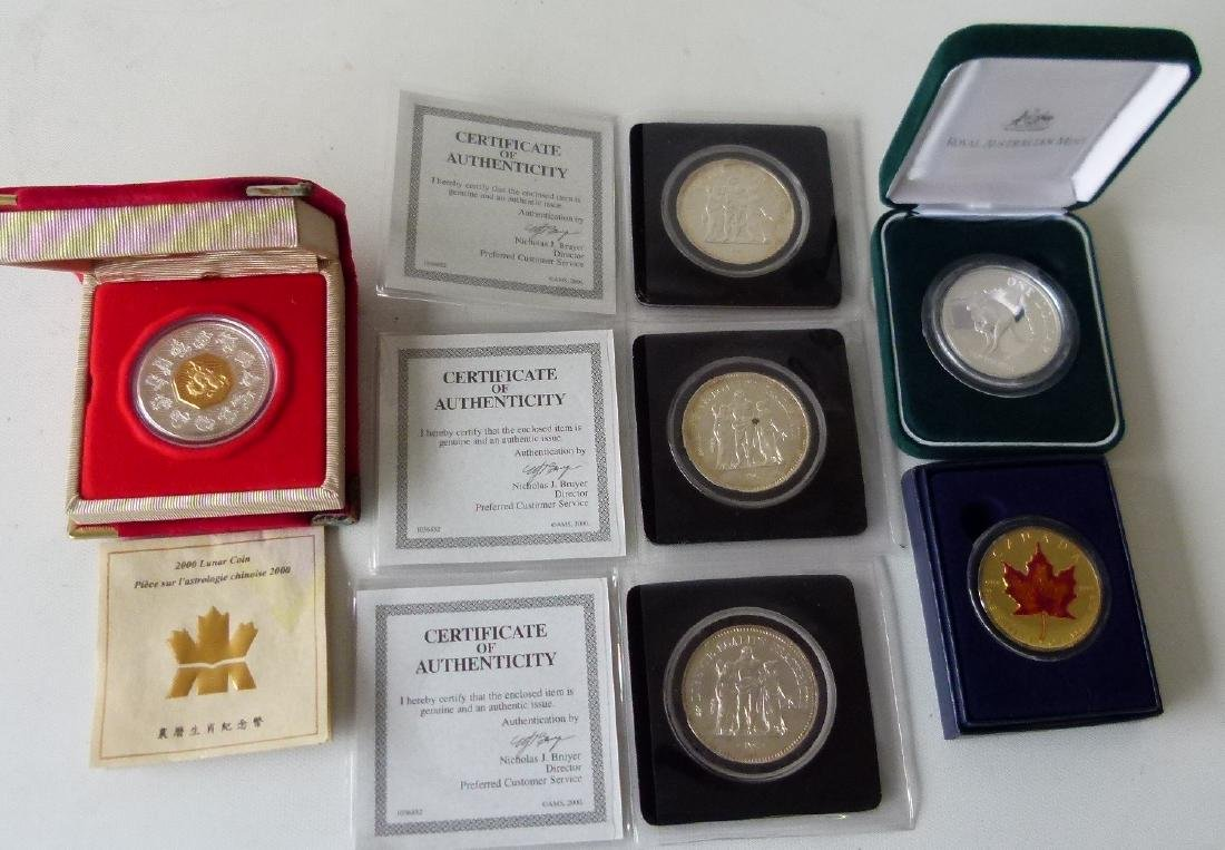 6 COMMEMORATIVE COINS INCL. CHINESE LUNAR COIN