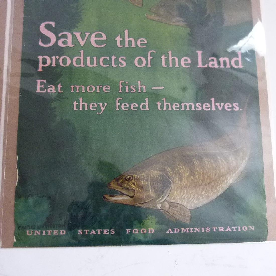 """2 LITHOS-POSTERS """"EAT LESS"""" & """"SAVE"""" US FOOD ADMIN. - 9"""