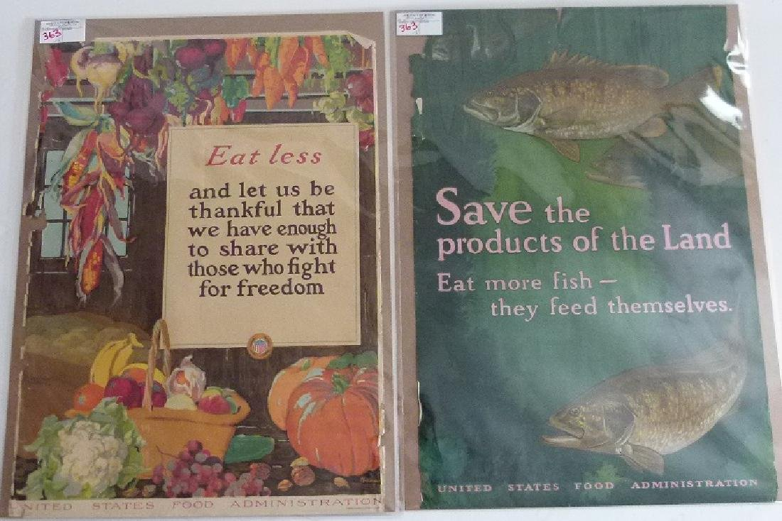 """2 LITHOS-POSTERS """"EAT LESS"""" & """"SAVE"""" US FOOD ADMIN."""