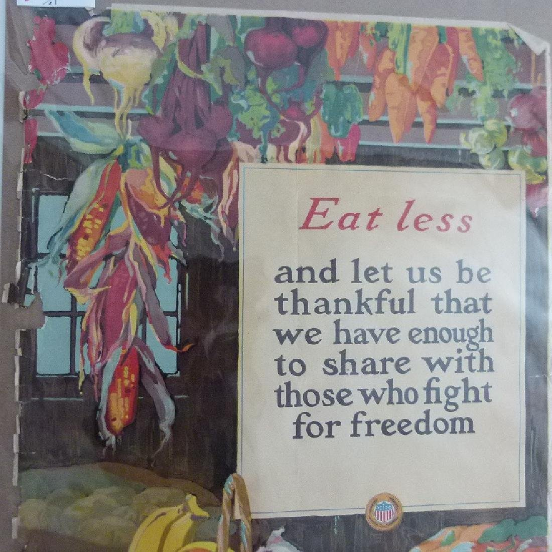 """2 LITHOS-POSTERS """"EAT LESS"""" & """"SAVE"""" US FOOD ADMIN. - 3"""
