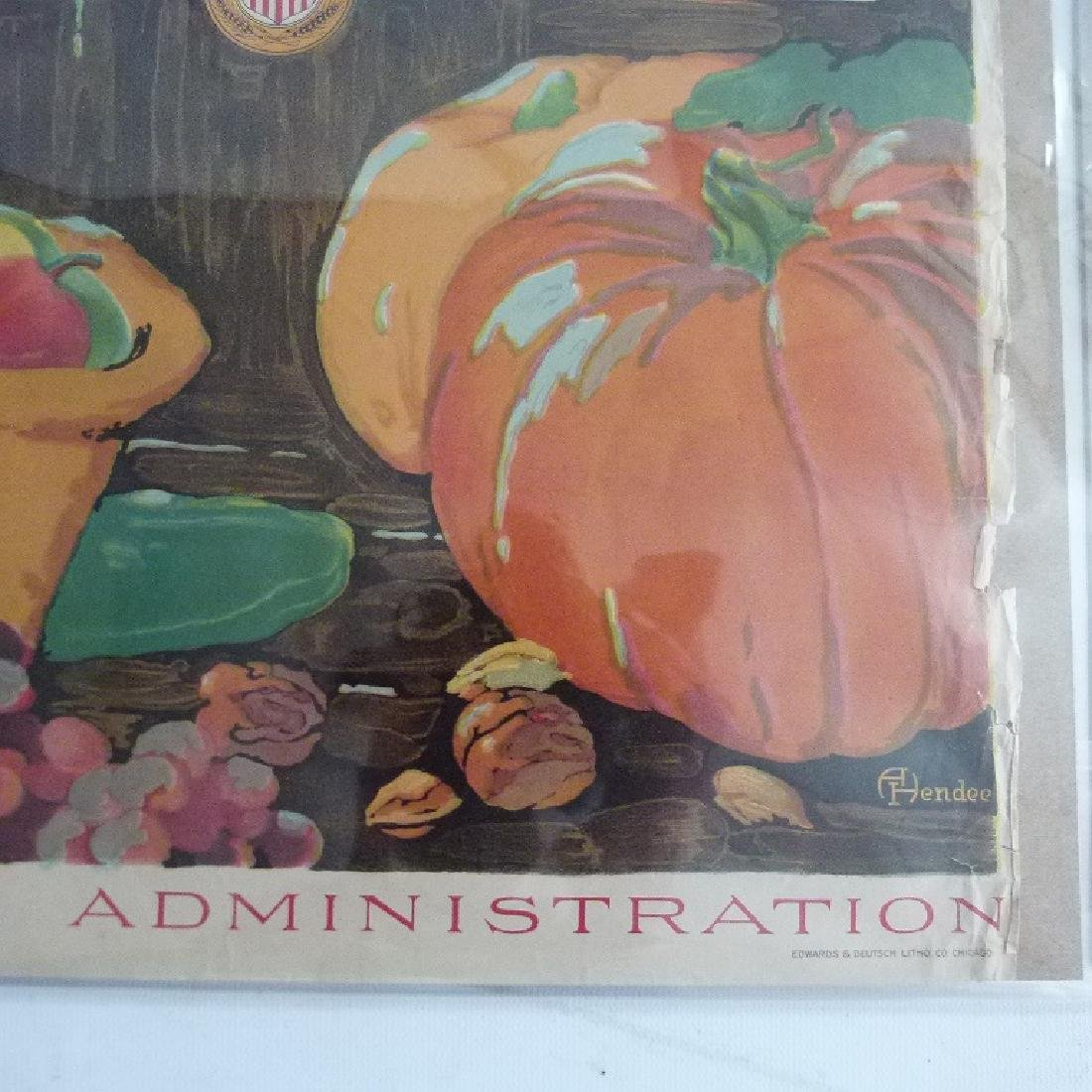 """2 LITHOS-POSTERS """"EAT LESS"""" & """"SAVE"""" US FOOD ADMIN. - 6"""