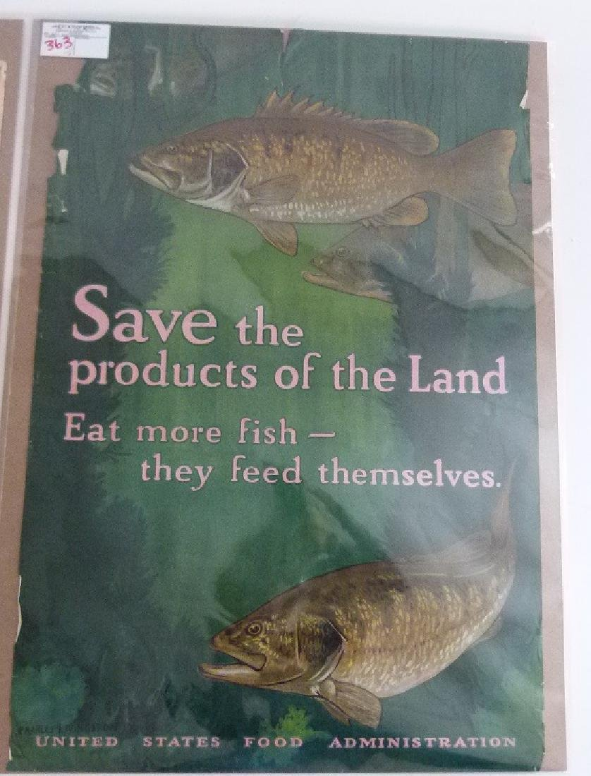"""2 LITHOS-POSTERS """"EAT LESS"""" & """"SAVE"""" US FOOD ADMIN. - 8"""