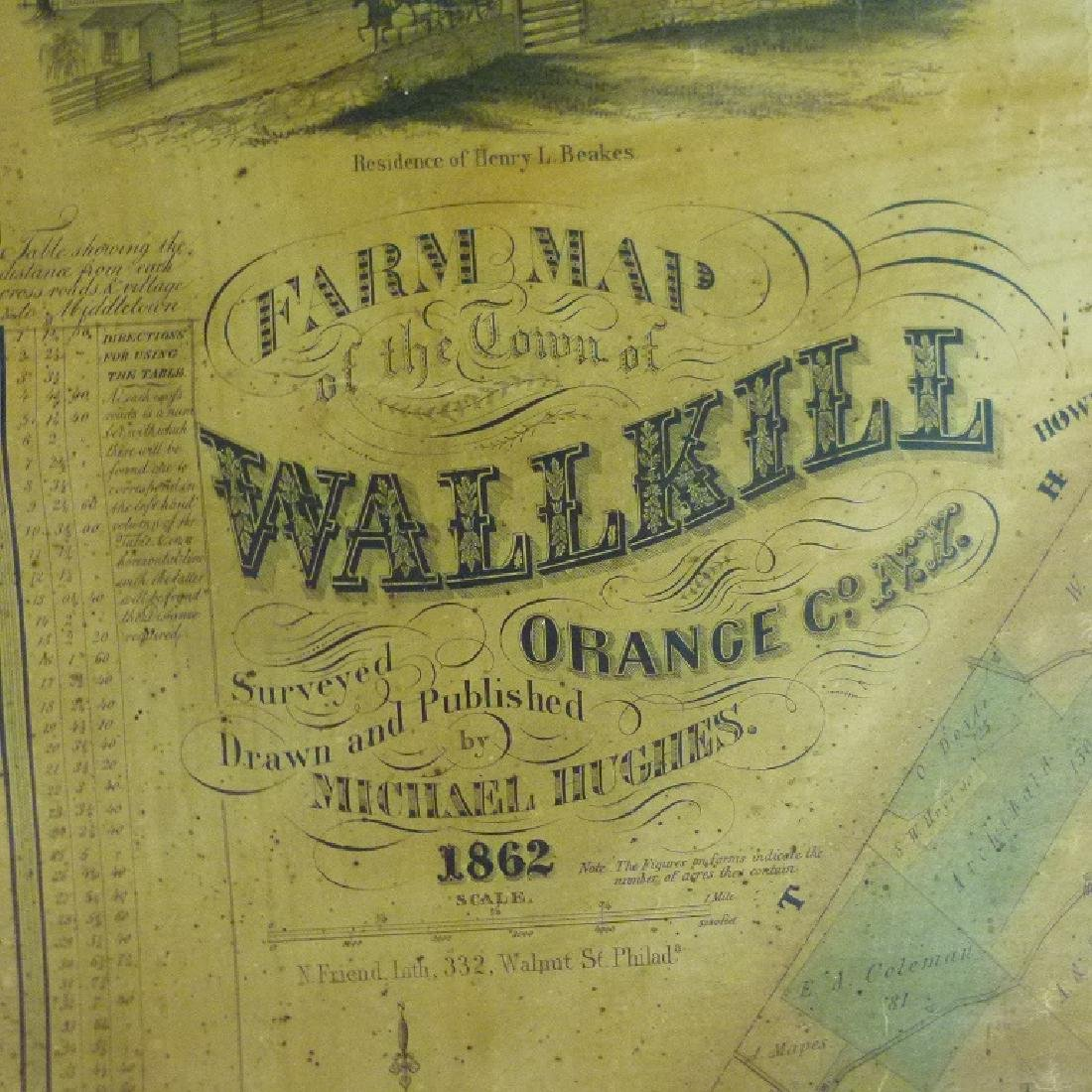 TOWN OF WALLKILL NEW YORK MAP, HUGHES 1862