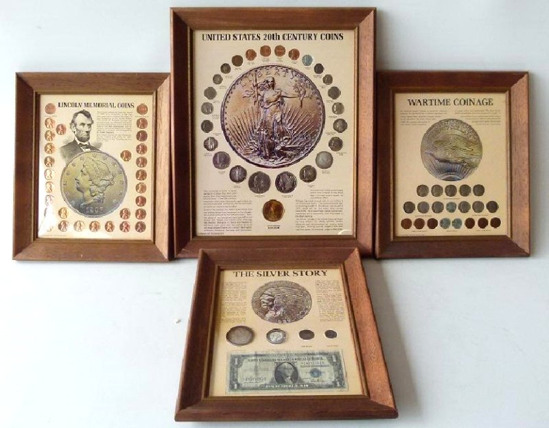4 FRAMED SETS US CURRENCY, INCL. SILVER DOLLARS