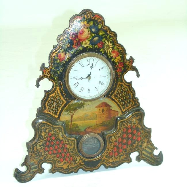 VICTORIAN PAINTED IRON SHELF/MANTLE CLOCK