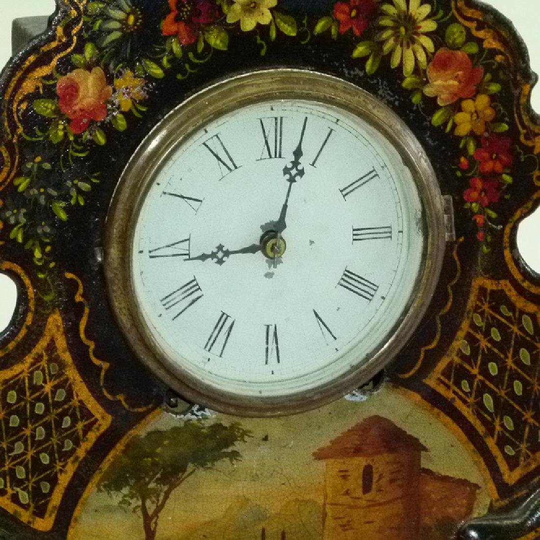 VICTORIAN PAINTED IRON SHELF/MANTLE CLOCK - 2