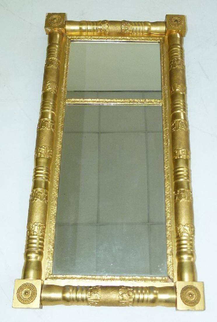 FINE CLASSICAL EMPIRE GILT 2 PART WALL MIRROR