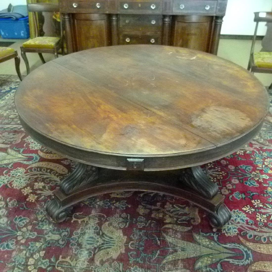 PENN. CLASSICAL CARVED WALNUT DINING ROOM TABLE