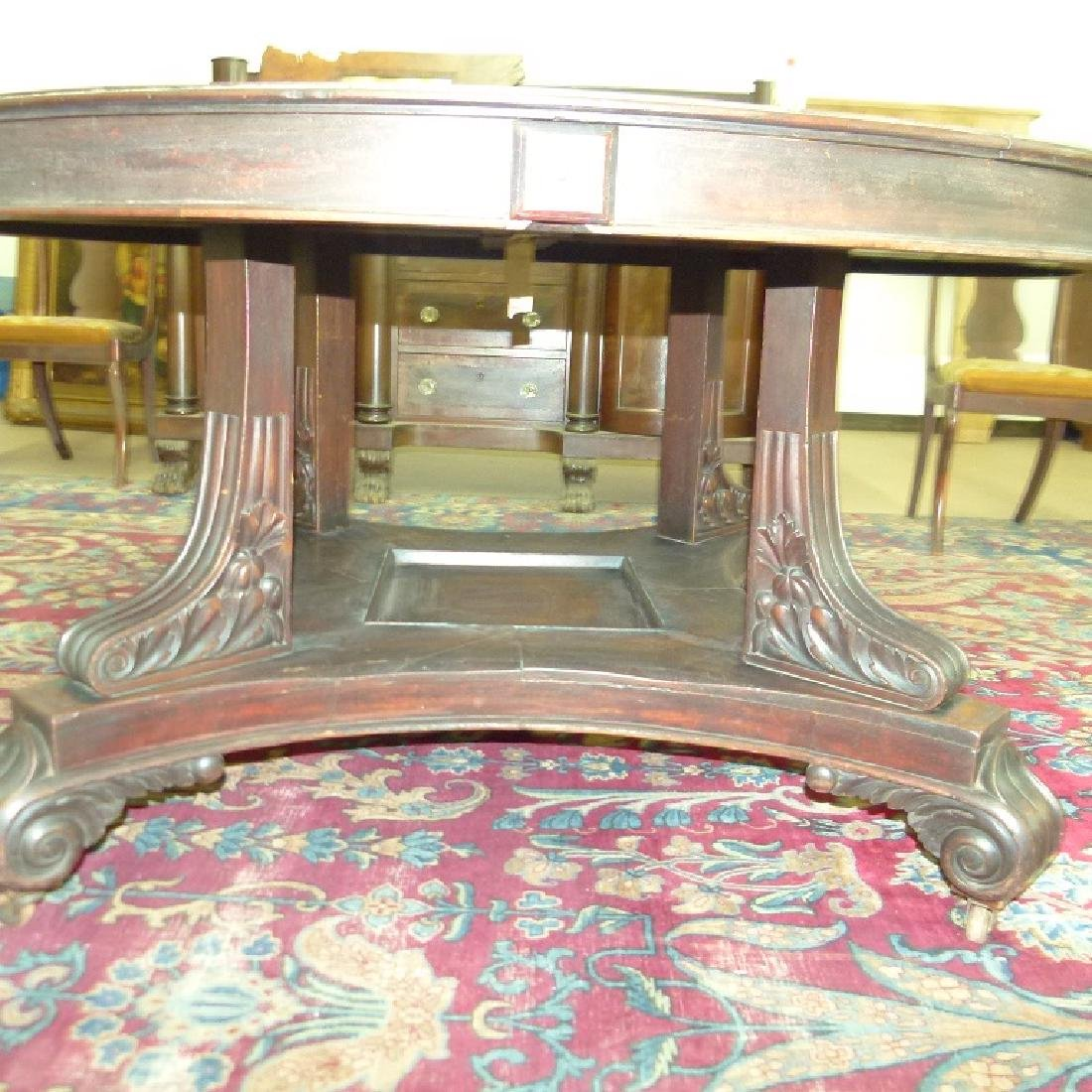 PENN. CLASSICAL CARVED WALNUT DINING ROOM TABLE - 2