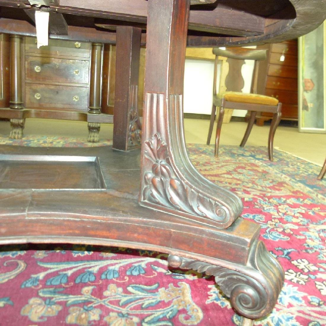 PENN. CLASSICAL CARVED WALNUT DINING ROOM TABLE - 3