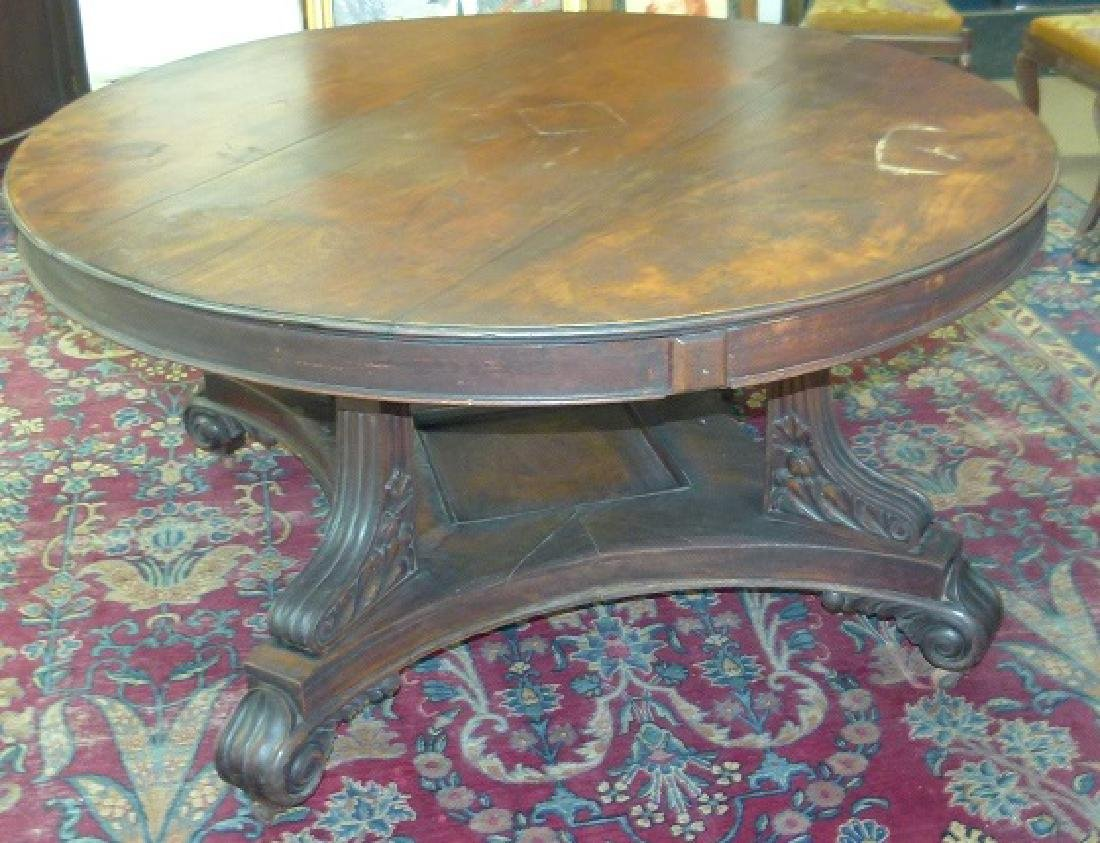 PENN. CLASSICAL CARVED WALNUT DINING ROOM TABLE - 5