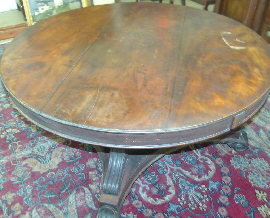 PENN. CLASSICAL CARVED WALNUT DINING ROOM TABLE - 6