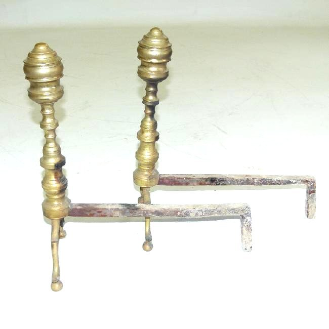 PAIR FEDERAL BRASS BEEHIVE ANDIRONS, 18/19TH C. - 5