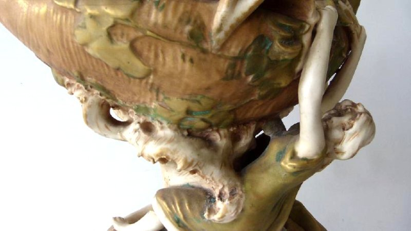 ART NOUVEAU ROYAL DUX GILT GLAZED PORCELAIN VASE - 5