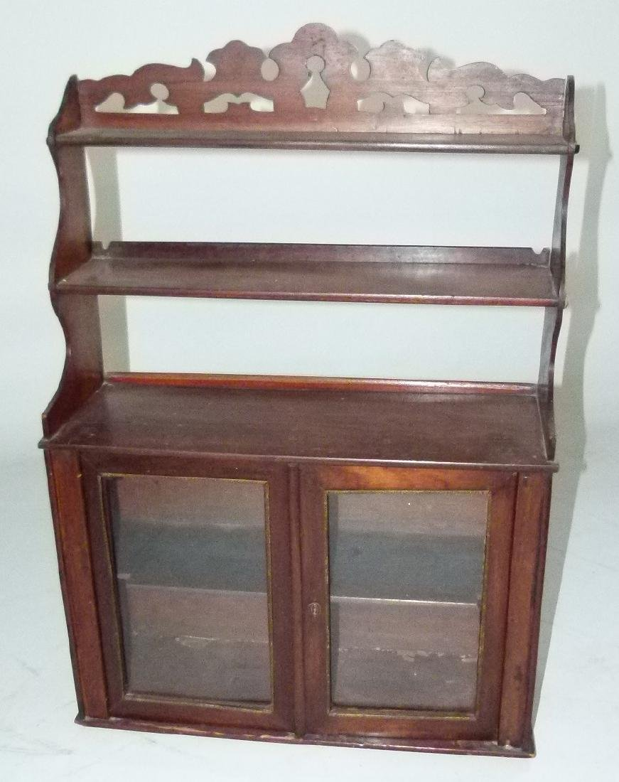 VICTORIAN WALNUT HANGING WHAT-NOT CABINET