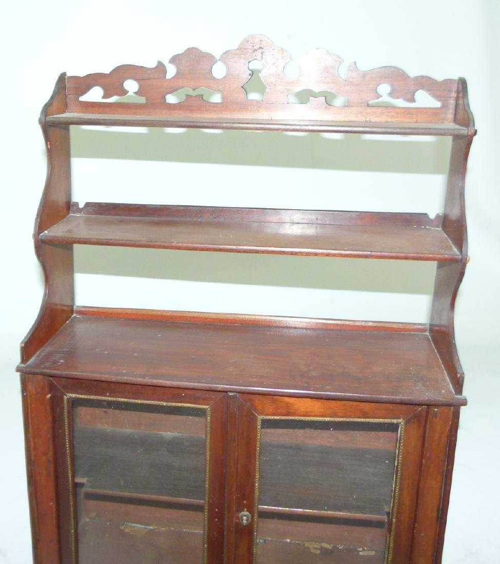 VICTORIAN WALNUT HANGING WHAT-NOT CABINET - 2
