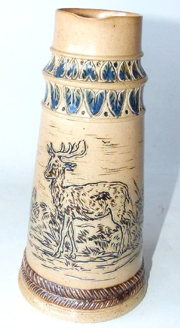 RARE DOULTON LAMBETH INCISED STAG/DEER PITCHER