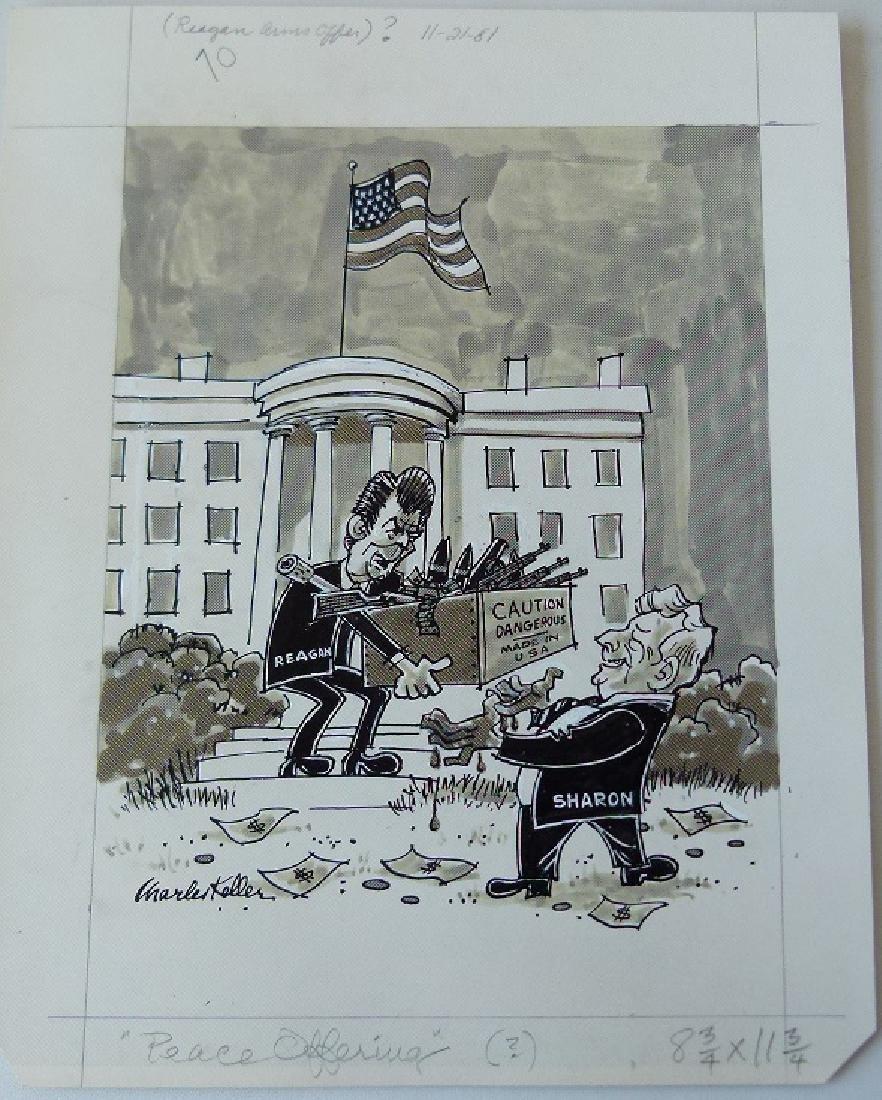 W/C GOUACHE POLITICAL CARTOONS SIGNED KELLER - 4