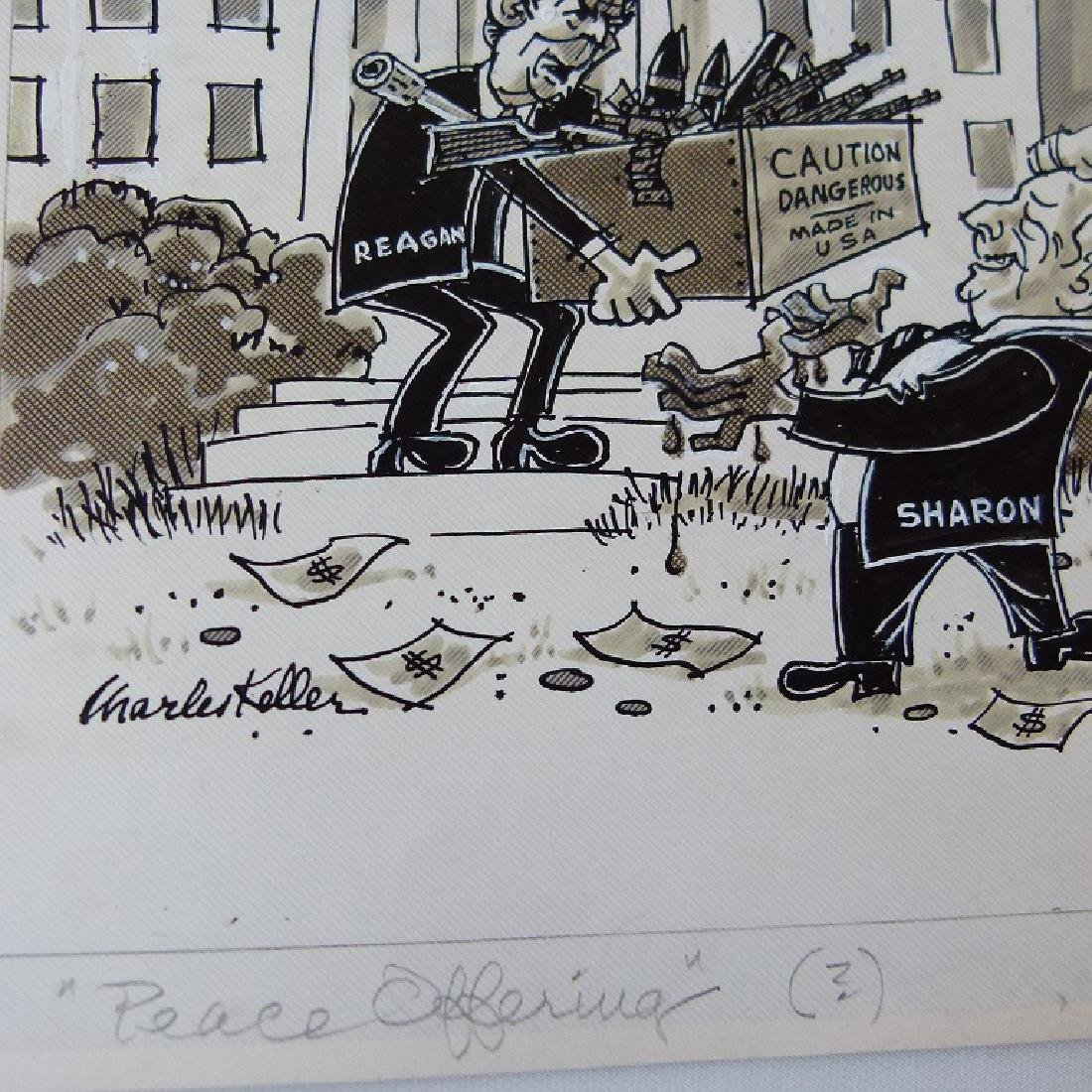 W/C GOUACHE POLITICAL CARTOONS SIGNED KELLER - 5