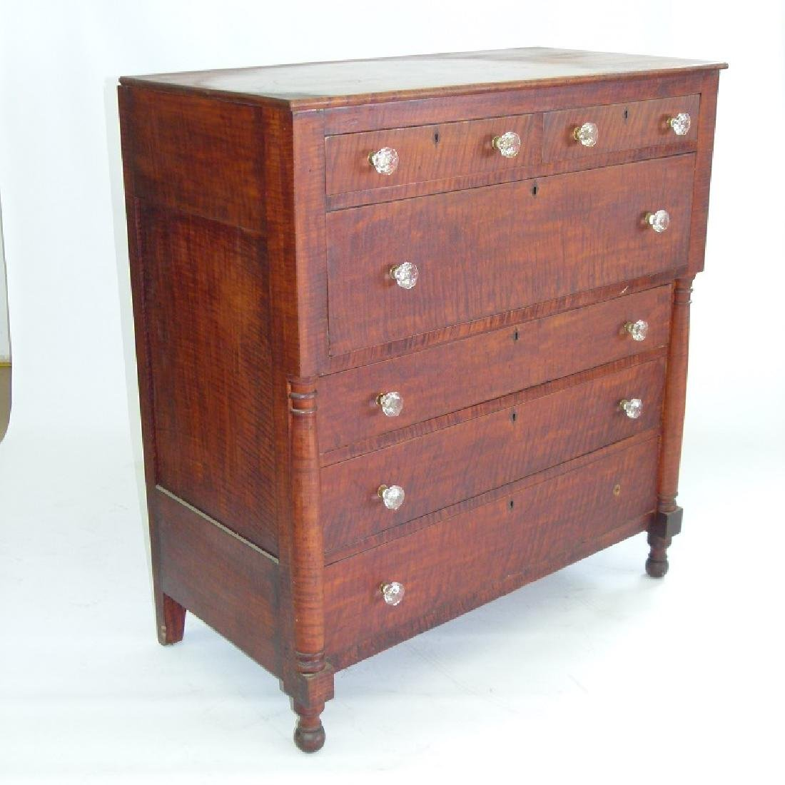 SHERATON CARVED TIGER MAPLE 2/4 CHEST OF DRAWERS