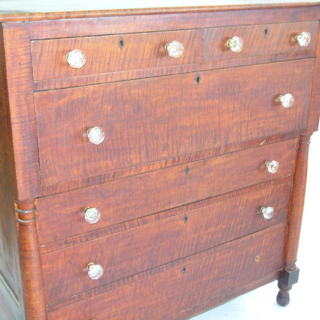 SHERATON CARVED TIGER MAPLE 2/4 CHEST OF DRAWERS - 2