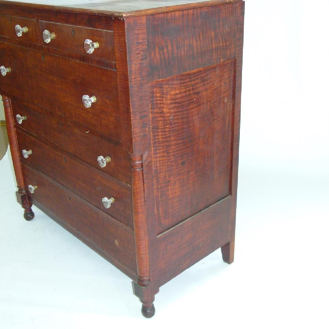 SHERATON CARVED TIGER MAPLE 2/4 CHEST OF DRAWERS - 5