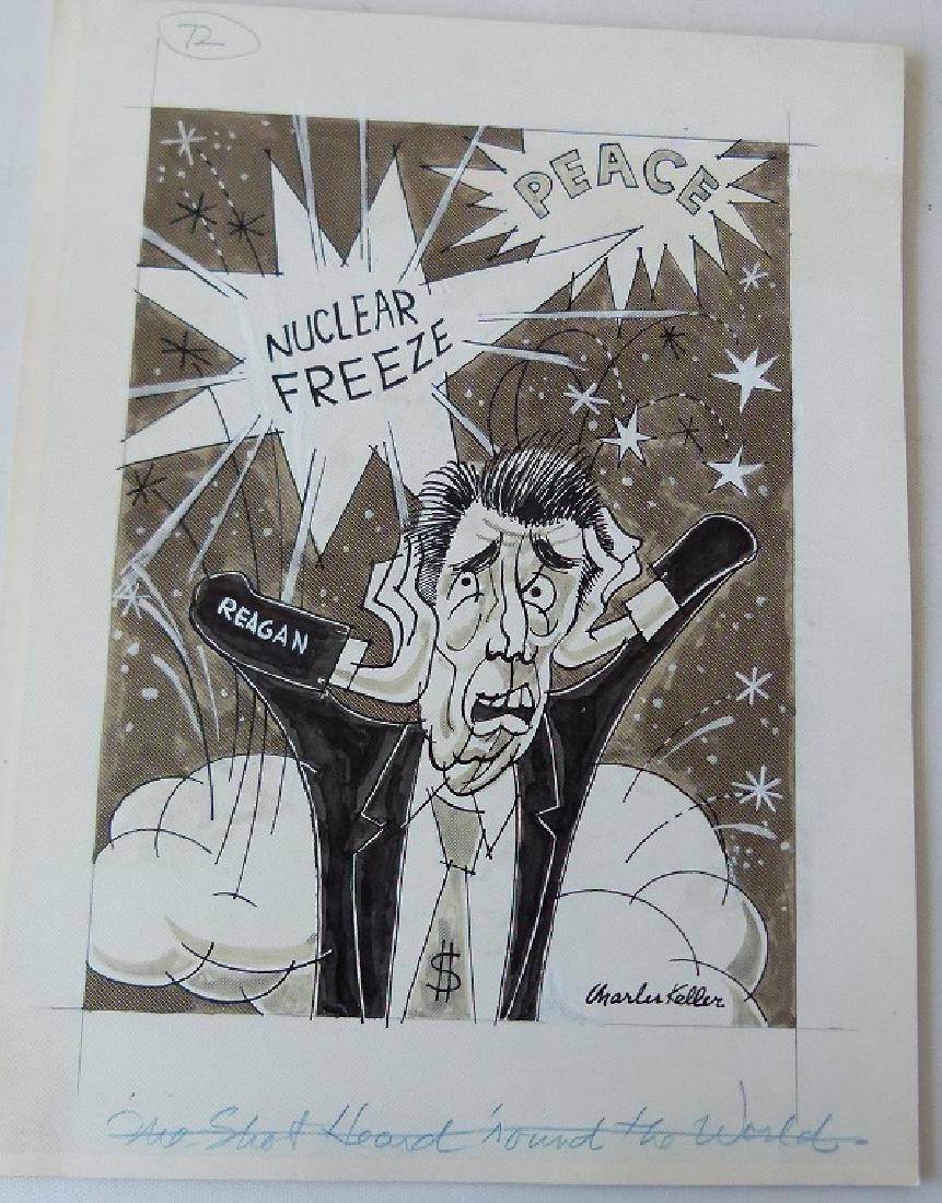 W/C GOUACHE POLITICAL CARTOONS SIGNED KELLER - 8