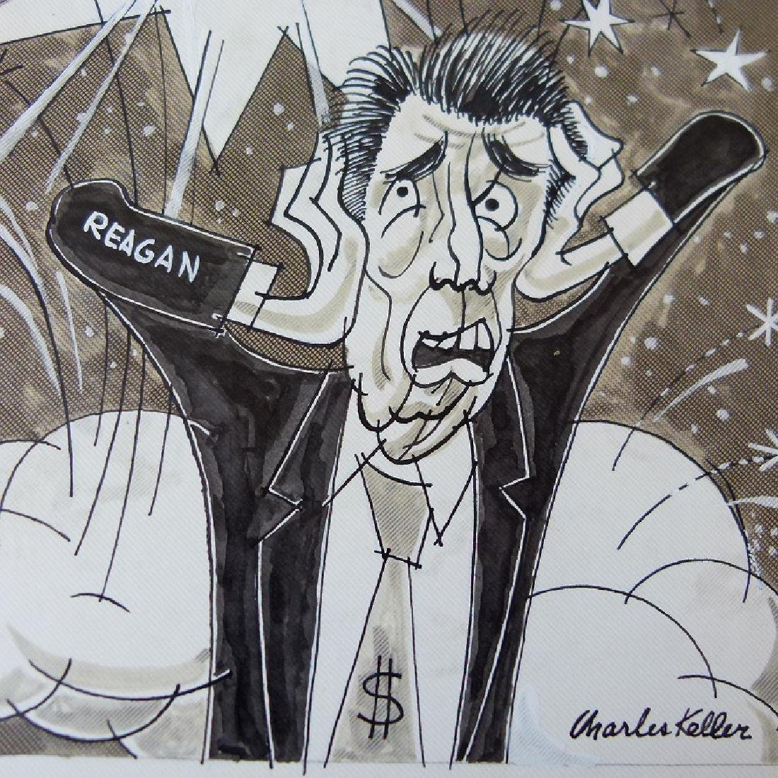 W/C GOUACHE POLITICAL CARTOONS SIGNED KELLER - 9