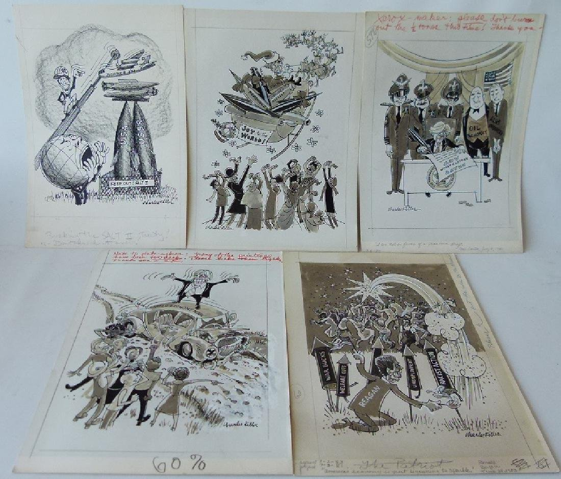 W/C GOUACHE POLITICAL CARTOONS SIGNED KELLER
