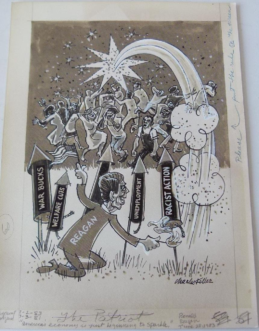 W/C GOUACHE POLITICAL CARTOONS SIGNED KELLER - 2