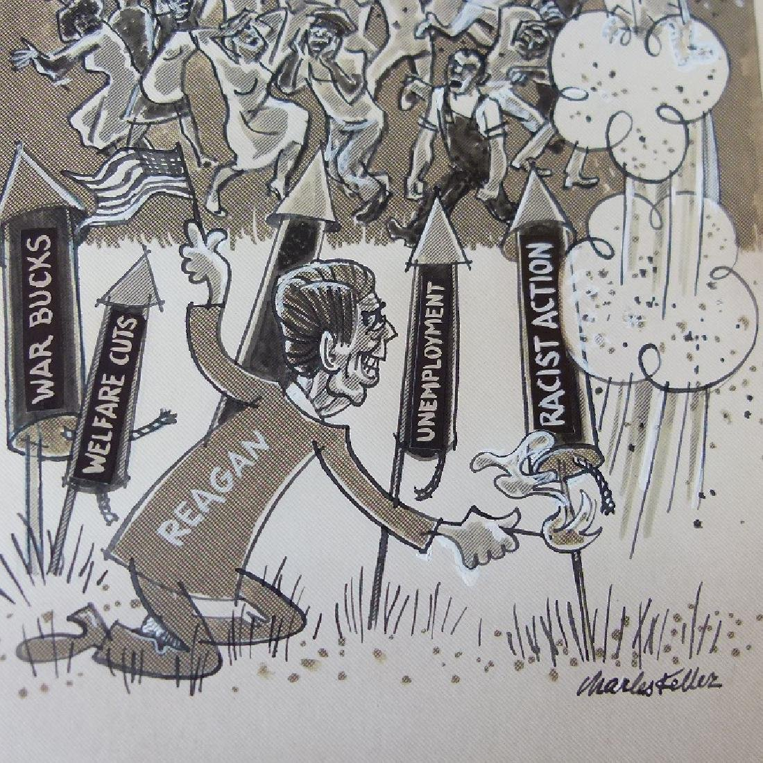 W/C GOUACHE POLITICAL CARTOONS SIGNED KELLER - 3