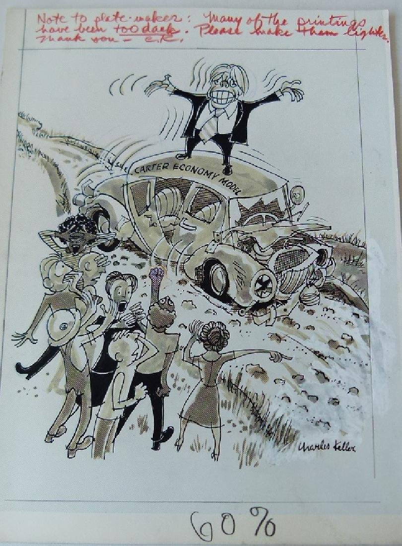 W/C GOUACHE POLITICAL CARTOONS SIGNED KELLER - 5