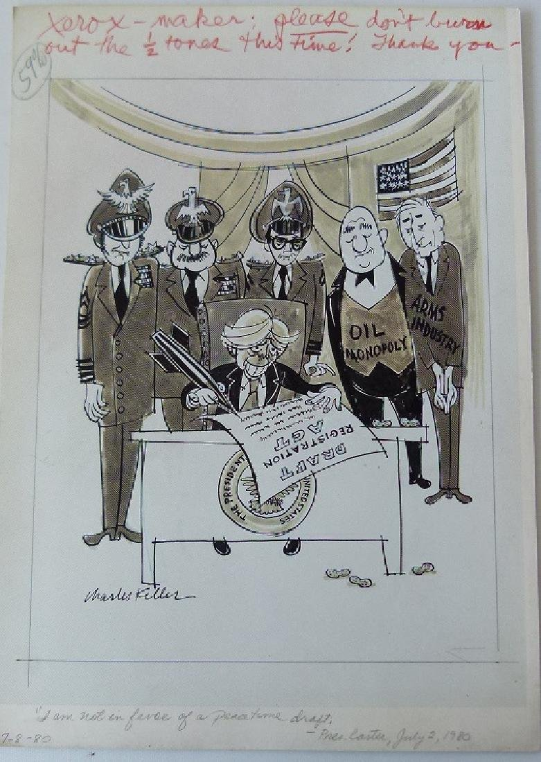 W/C GOUACHE POLITICAL CARTOONS SIGNED KELLER - 8