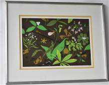 LITHOGRAPH BELL FLOWERS SIGNED CHARPER