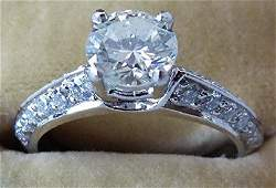 ART DECO PLATINUM/DIAMOND RING W/ 1CT STONE