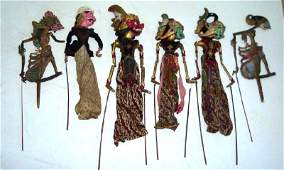LOT (6) INDONESIAN CARVED PAINTED SHADOW PUPPETS