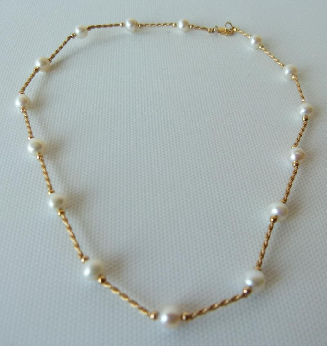 22e2bd1f116a2 MODERN 14KT YELLOW GOLD CULTURED PEARL NECKLACE
