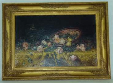 O/C STILL LIFE W/ ROSES, Signed MILNE RAMSEY 1887