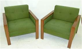 PAIR MID CENTURY MODERN LIME GREEN  ARM CHAIRS