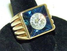 14KT YELLOW GOLD/2 Ct. DIAMOND/SAPPHIRE UNISEX RING