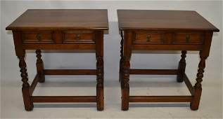 PAIR WILLIAM  MARY STYLE CHERRY END TABLES