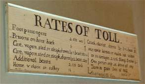 FOLK ART RATES OF TOLL CARVEDPAINTED PINE SIGN