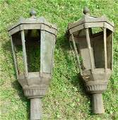 PAIR VICTORIAN CAST IRON STREET LAMPS