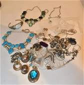 LOT CONTEMPORARY STERLING SILVER JEWELRY